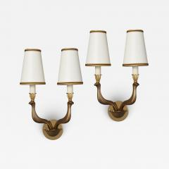 Pair of Abstracted Bird Bronze Sconces Italy 1960s - 1921212