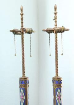 Pair of Aesthetic Movement Cloisonne and Bronze Table Lamps - 419018