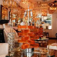 Pair of Amber Murano Glass Lamps - 70225