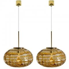 Pair of Amber Murano Glass Pendant Lamp 1960s - 1337044