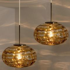 Pair of Amber Murano Glass Pendant Lamp 1960s - 1337047