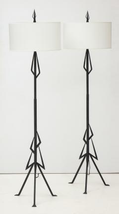 Pair of American Art Deco wrought iron floor lamps - 1145632