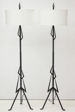 Pair of American Art Deco wrought iron floor lamps - 1145638