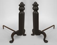 Pair of American Art Nouveau Iron Andirons - 471053