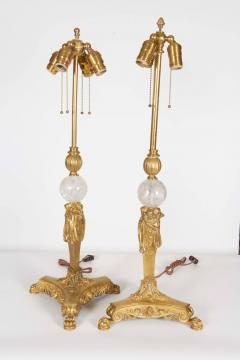 Pair of American Gilt Bronze and Rock Crystal Table Lamps Edward F Caldwell Co - 1160219