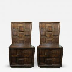 Pair of American Mid Century Mahogany Bedside Tables Commodes - 464913