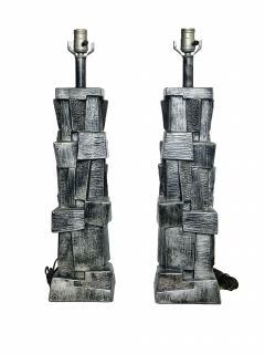 Pair of American Modern Glazed Ceramic Brutalist Table Lamps - 688474