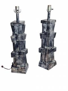 Pair of American Modern Glazed Ceramic Brutalist Table Lamps - 688475