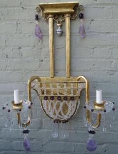 Pair of Amethyst Rock Crystal Sconces - 568200