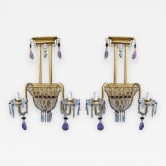Pair of Amethyst Rock Crystal Sconces - 571093