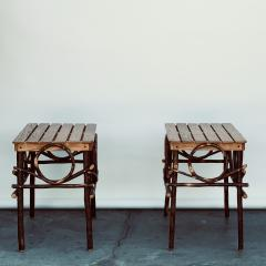 Pair of Amish Oak and Twig Side or End Tables by Alvin Herschberger - 1388985
