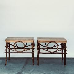 Pair of Amish Oak and Twig Side or End Tables by Alvin Herschberger - 1388986