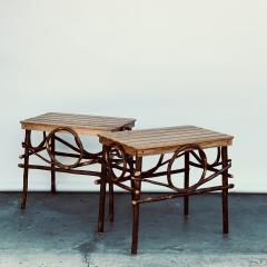 Pair of Amish Oak and Twig Side or End Tables by Alvin Herschberger - 1388987