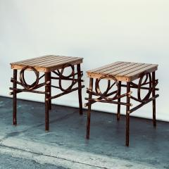 Pair of Amish Oak and Twig Side or End Tables by Alvin Herschberger - 1388988