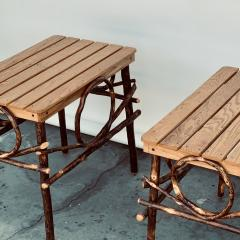 Pair of Amish Oak and Twig Side or End Tables by Alvin Herschberger - 1388989