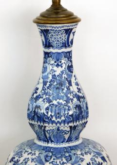 Pair of Antique Dutch Delftware Blue White Double baluster Lamps - 1614985