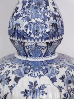 Pair of Antique Dutch Delftware Blue White Double baluster Lamps - 1614986