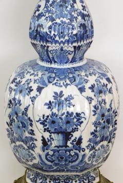 Pair of Antique Dutch Delftware Blue White Double baluster Lamps - 1614987