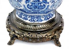 Pair of Antique Dutch Delftware Blue White Double baluster Lamps - 1614988