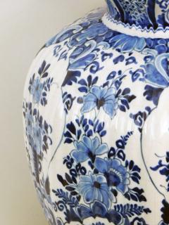 Pair of Antique Dutch Delftware Blue White Double baluster Lamps - 1614989