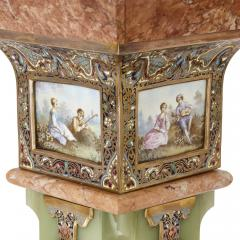 Pair of Antique Eclectic Style Onyx and Marble Pedestals - 1907378