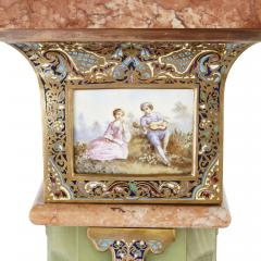 Pair of Antique Eclectic Style Onyx and Marble Pedestals - 1907379