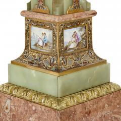 Pair of Antique Eclectic Style Onyx and Marble Pedestals - 1907380