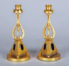 Pair of Antique English Gilded Bronze Candlesticks - 1247284