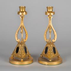 Pair of Antique English Gilded Bronze Candlesticks - 1247286