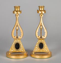 Pair of Antique English Gilded Bronze Candlesticks - 1247288