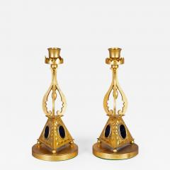 Pair of Antique English Gilded Bronze Candlesticks - 1248645