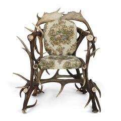 Pair of Antique German Antler Chairs with Rococo Style Upholstery - 1913678