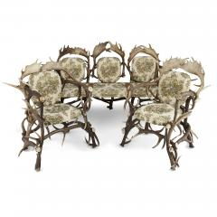Pair of Antique German Antler Chairs with Rococo Style Upholstery - 1913679