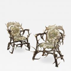 Pair of Antique German Antler Chairs with Rococo Style Upholstery - 1914530