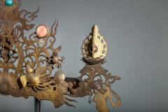 Pair of Antique Japanese Buddhist Temple Headdress and Necklace Ornaments - 1905772