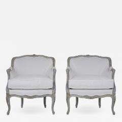 Pair of Antique Painted Louis XV Style Bergeres - 1599941