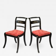 Pair of Antique Regency Painted Klismos Chairs - 1091012