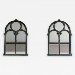 Pair of Arched Cast Iron Reclaimed Window Mirrors - 1972794