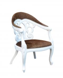 Pair of Armchairs designed by David Barrett Solid wood in white Lacquer  - 922863