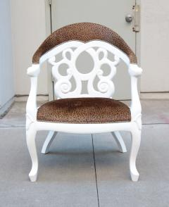 Pair of Armchairs designed by David Barrett Solid wood in white Lacquer  - 922864