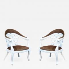 Pair of Armchairs designed by David Barrett Solid wood in white Lacquer  - 923499