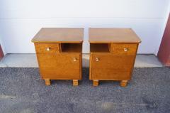 Pair of Art Deco Burl Wood Nightstands - 1161011