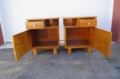 Pair of Art Deco Burl Wood Nightstands - 1161012