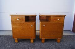 Pair of Art Deco Burl Wood Nightstands - 1161013