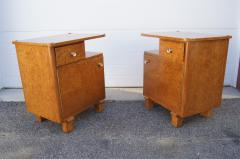 Pair of Art Deco Burl Wood Nightstands - 1161016