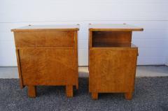 Pair of Art Deco Burl Wood Nightstands - 1161017