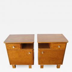 Pair of Art Deco Burl Wood Nightstands - 1165434