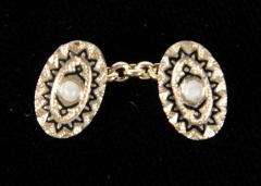 Pair of Art Deco Gold Pearl and Enamel Cufflinks - 1613058