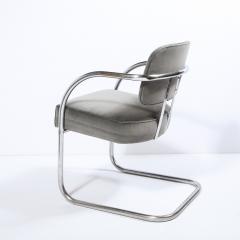 Pair of Art Deco Machine Age Bent Aluminum Platinum Velvet Occasional Chairs - 2050217