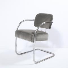Pair of Art Deco Machine Age Bent Aluminum Platinum Velvet Occasional Chairs - 2050218